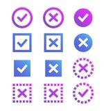 Icono de la marca de verificación Marcas y cruces azules y púrpuras Imagen de archivo