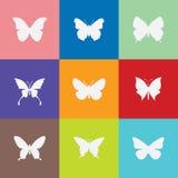 Icono de la mariposa en fondo del colorfull imagen de archivo
