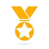 Icono de la medalla del premio del oro stock de ilustración