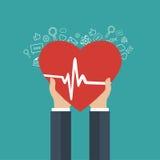 Icono de la medicina y de la atención sanitaria Manos que llevan a cabo el corazón con la muestra del pulso Fotos de archivo