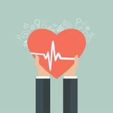 Icono de la medicina y de la atención sanitaria Manos que llevan a cabo el corazón con la muestra del pulso Imagen de archivo