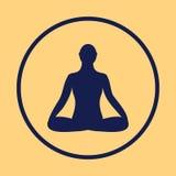 Icono de la meditación el meditar humano en actitud del loto Fotos de archivo