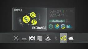 Icono de la moneda del intercambio para el contenido del viaje Uso del indicador digital ilustración del vector