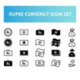 Icono de la moneda de la rupia de la India fijado en estilo del sólido y del esquema libre illustration