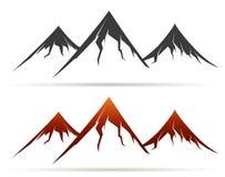 Icono de la montaña en el fondo blanco Fotografía de archivo libre de regalías