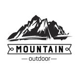 Icono de la montaña Logotipo monocromático de la montaña fotografía de archivo