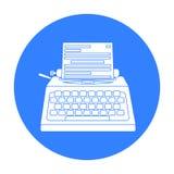 Icono de la máquina de escribir en estilo negro aislado en el fondo blanco Películas y ejemplo del vector de la acción del símbol Fotografía de archivo libre de regalías