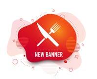Icono de la muestra de la comida S?mbolo de los cubiertos Cuchillo y bifurcaci?n Vector stock de ilustración