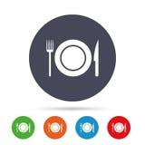 Icono de la muestra de la comida Símbolo de los cubiertos Cuchillo y bifurcación libre illustration