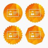 Icono de la muestra de la tarjeta de la identificación Símbolo de la insignia del documento de identidad Fotografía de archivo