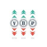 Icono de la muestra de moneda del Grunge con verde y rojo arriba y abajo de flechas Imagen de archivo