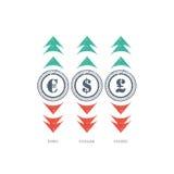 Icono de la muestra de moneda del Grunge con verde y rojo arriba y abajo de flechas Foto de archivo