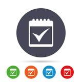 Icono de la muestra del calendario Compruebe a Mark Symbol Imagen de archivo libre de regalías