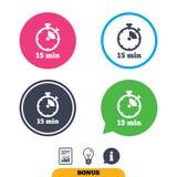 Icono de la muestra del contador de tiempo símbolo del cronómetro de 15 minutos stock de ilustración