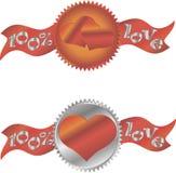 Icono de la muestra del corazón Símbolo del amor Emblema del certificado Fotografía de archivo