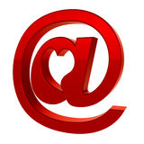 Icono de la muestra del email con el corazón Imagen de archivo libre de regalías