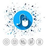 Icono de la muestra del ratón del ordenador Óptico con la rueda Imágenes de archivo libres de regalías
