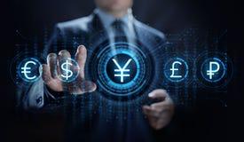 Icono de la muestra de moneda de los yenes en la pantalla virtual Concepto comercial de la tecnolog?a del negocio de las divisas ilustración del vector