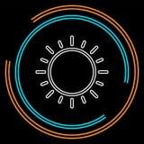 Icono de la muestra de Sun, luz del sol del vector, soleado brillante ilustración del vector