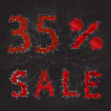 icono de la muestra de la venta del 35% Símbolo del descuento Venta de Black Friday, estación d Imagenes de archivo