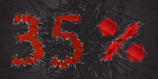 icono de la muestra de la venta del 35% Símbolo del descuento Venta de Black Friday, estación d Fotografía de archivo