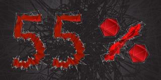 icono de la muestra de la venta del 55% Símbolo del descuento Venta de Black Friday, estación d Foto de archivo
