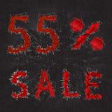 icono de la muestra de la venta del 55% Símbolo del descuento Venta de Black Friday, estación d Imagen de archivo libre de regalías