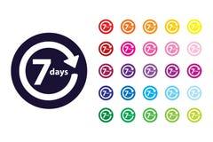 icono de la muestra de la vuelta de 7 días símbolo del color de la vuelta de 7 días stock de ilustración