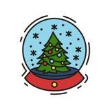 Icono de la Navidad, esquema del vector y ejemplo de color del color Fotos de archivo libres de regalías