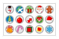 Icono de la Navidad fijado - versión 1 Foto de archivo libre de regalías