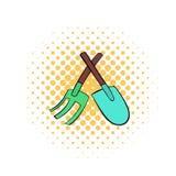 Icono de la pala y del rastrillo, estilo de los tebeos libre illustration