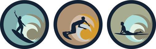 Icono de la persona que practica surf Imagenes de archivo