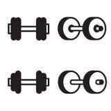 Icono de la pesa de gimnasia en cuatro variaciones Ilustración del vector Imágenes de archivo libres de regalías