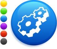Icono de la pieza de la máquina en el botón redondo del Internet Imagen de archivo