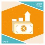 Icono de la pila del dólar Concepto del crecimiento de dinero Foto de archivo