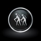 Icono de la pista de senderismo dentro de la plata redonda y del emblema negro libre illustration