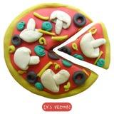 Icono de la pizza del plasticine ilustración del vector