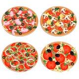 Icono de la pizza fijado en un estilo plano Foto de archivo