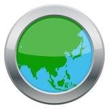 Icono de la plata del mapa de Asia Fotografía de archivo