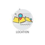Icono de la posición de la ubicación de la navegación del mapa stock de ilustración