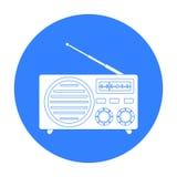 Icono de la publicidad radiofónica en estilo negro aislado en el fondo blanco Ejemplo del vector de la acción del símbolo de la p Fotos de archivo libres de regalías