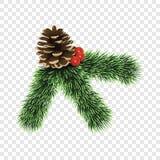 Icono de la rama de árbol de pino, estilo realista ilustración del vector
