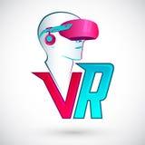 Icono de la realidad virtual de VR con las auriculares que llevan del hombre Imagen de archivo