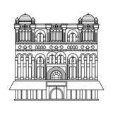 Icono de la reina Victoria Building en estilo del esquema aislado en el fondo blanco Fotografía de archivo