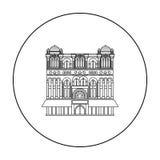 Icono de la reina Victoria Building en estilo del esquema aislado en el fondo blanco Ejemplo del vector de la acción del símbolo  Foto de archivo