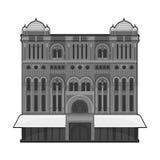 Icono de la reina Victoria Building en estilo monocromático aislado en el fondo blanco Vector de la acción del símbolo de Austral Foto de archivo libre de regalías