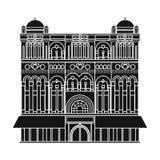 Icono de la reina Victoria Building en estilo negro aislado en el fondo blanco Ejemplo del vector de la acción del símbolo de los Imagen de archivo