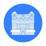 Icono de la reina Victoria Building en estilo negro aislado en el fondo blanco Ejemplo del vector de la acción del símbolo de Aus Imagen de archivo