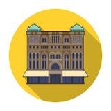 Icono de la reina Victoria Building en estilo plano aislado en el fondo blanco Ejemplo del vector de la acción del símbolo de los Imagen de archivo libre de regalías