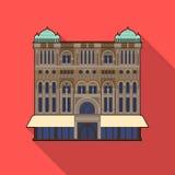 Icono de la reina Victoria Building en estilo plano aislado en el fondo blanco Ejemplo del vector de la acción del símbolo de los Fotos de archivo